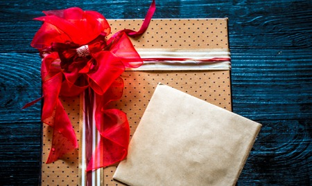beautiful gift box for Valentine,lying on wooden background,holiday concept Reklamní fotografie