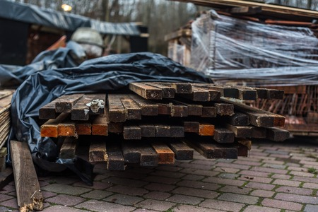 euro pallet: Working warehouse wooden planks lying in the street Stock Photo