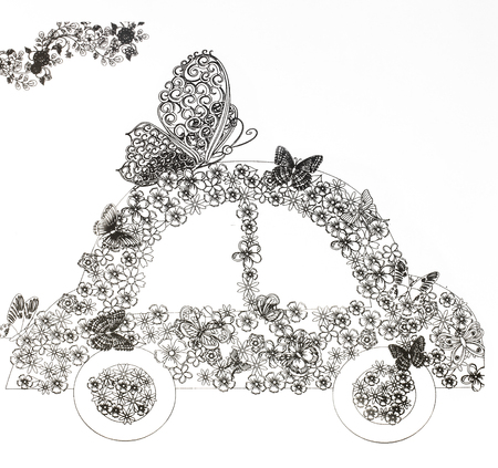coloring pages for adults,transportation on white background , concept of anti stress Stock Photo