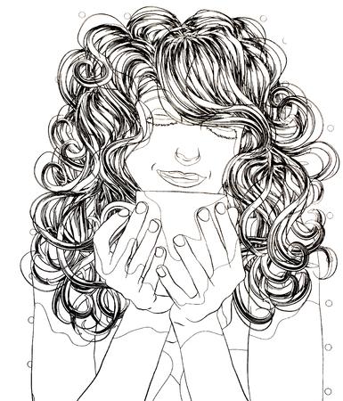 一杯のお茶、白い背景、アンチ ストレスの概念の上の手でカップの女の子塗り絵 写真素材