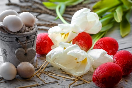 eastertime: White tulips with pot and red Easter eggs on wooden background ,holiday concept