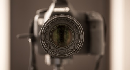 stalker: the camera closeup , pierced the lens,the photo in the mirror
