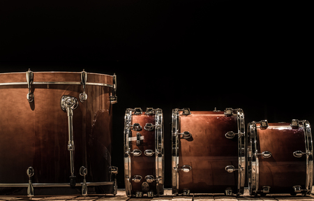 cymbol: drums, musical percussion instruments on a black background, the music concept Stock Photo