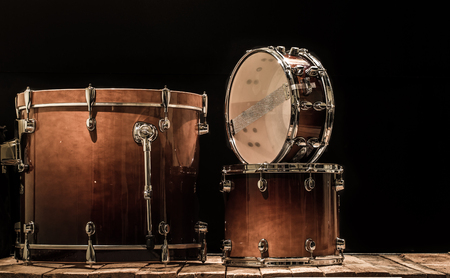 drums, musical percussion instruments on a black background, the music concept Stok Fotoğraf