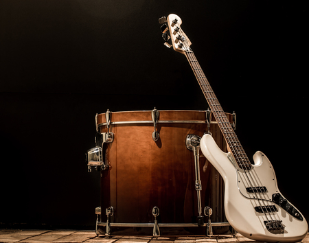 cymbol: musical instruments, drum bass Bochka bass guitar on a black background