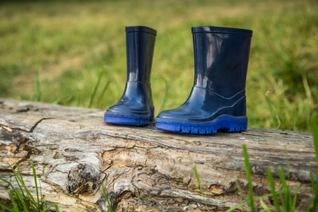 childrens rubber boots on a log