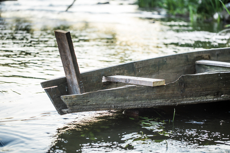 old wooden boat on the river ,closeup Stock Photo