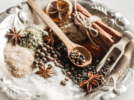 A variety of Oriental spices closeup ,concept of spicy food and spices Stock Photo
