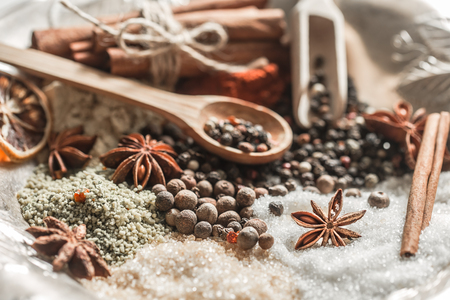 peppercorn: A variety of Oriental spices closeup ,concept of spicy food and spices Stock Photo