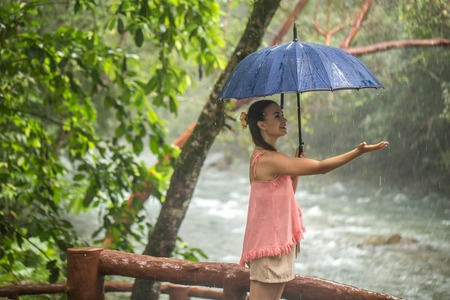 the girl walks with an umbrella in a rain forest under the rain ,travel concept