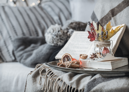 The still life details in the living room. Autumn composition on the background of cozy sofas and sweaters, the concept of leisure and autumn weekends Banco de Imagens