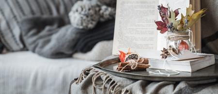 I dettagli di natura morta nel soggiorno. Composizione autunnale sullo sfondo di comodi divani e maglioni, il concetto di tempo libero e fine settimana autunnali