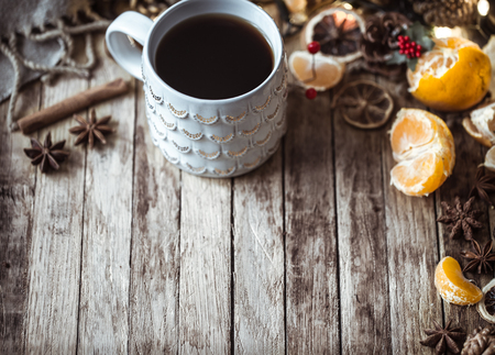 Christmas cozy Cup of tea on wooden background,concept of holidays and tea parties Stock Photo