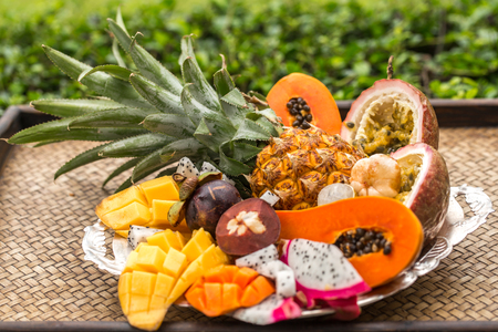 Exotic fruits on a tray concept of healthy eating