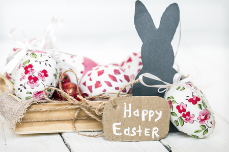 Easter still life on a light wood background, the concept of the Easter holidays Stock Photo