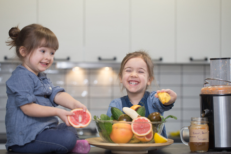 Two cute little girls cooking fresh juice in the kitchen, the concept of a healthy baby food and a happy family