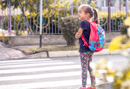 Children go to school, a happy student with a backpack, crosses the road, the concept of education with a child, a place for text Zdjęcie Seryjne