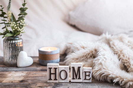 still life homely atmosphere in the interior with home decor items, the concept of comfort and coziness Stock Photo