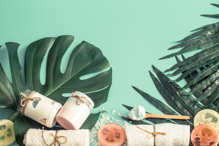 Still life of spa items on a colored background with tropical leaves, concept of body care and spa treatments Imagens