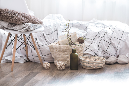 Still life with details of home decor in a cozy interior of the room .The concept of home atmosphere
