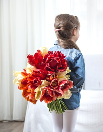 A little girl stands with her back with a large bouquet of colorful tulips in the interior of the room