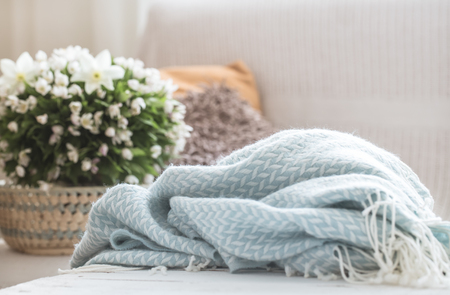 still life in the living room with a soft blanket , the concept of home comfort