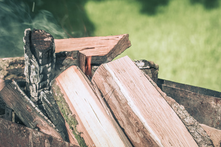 Fire, flames from wood ember for grill or bbq picnic, fume and firewood outdoor on the green field