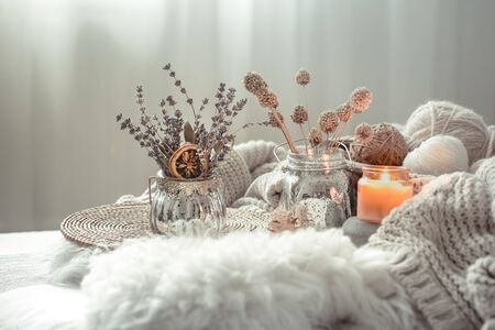 Autumn still Life home decor in a cozy house. Autumn weekend concept. Fall home decoration. Stock Photo