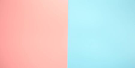 Color background with two colors pink and blue . Background , space for text. Fiat-lay.