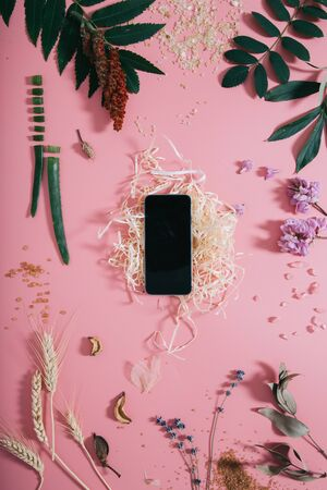 Creative flat lay top view of phone mock up on pastel millennial pink paper background copy space. Minimal writing concept template for text lettering blogging.