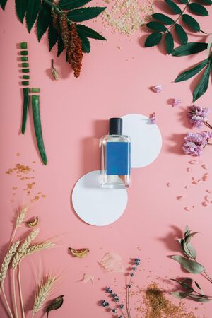 Perfume bottle in flowers on pink background with white circle shapes. Spring background with aroma parfume. Beauty cosmetic, fresh aromatic. Flat lay