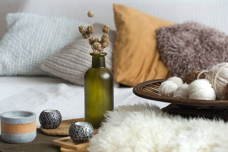 Autumn still Life home decor in a cozy house. Autumn weekend concept. Fall home decoration. Stock fotó