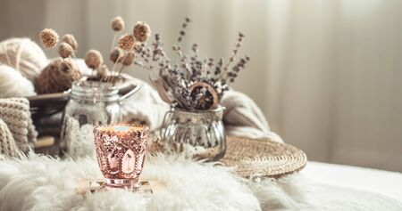 Autumn still Life home decor in a cozy house. Autumn weekend concept. Fall home decoration. 写真素材