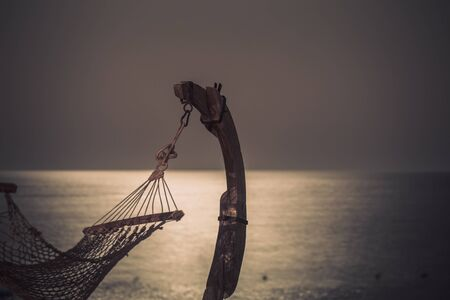 Beautiful beach with hammock in Egypt . the concept of travel and recreation .Night snapshot. Stock fotó