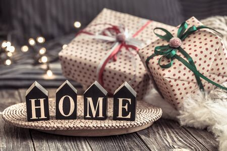 Cozy Christmas still life in a homely atmosphere on a wooden table. The concept of home decor and holidays.
