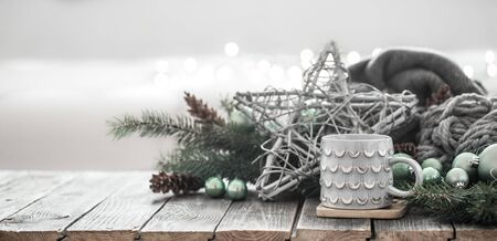 Festive new year background in a homely atmosphere . The concept of New year holidays. Archivio Fotografico - 132048674