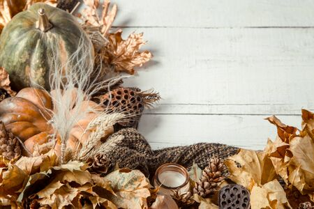 Autumn background with decorative elements and pumpkin on a wooden white table. The concept of the fall items and decor. Space for text.