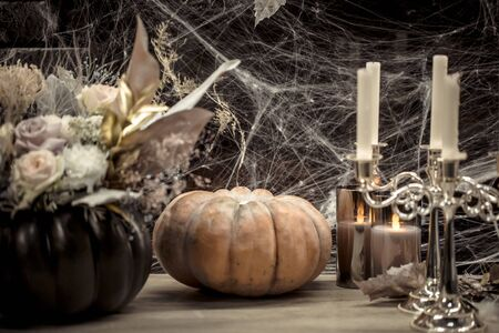 Halloween, decor elements and attributes of the holiday .Autumn holidays, decor and decoration. Stock Photo