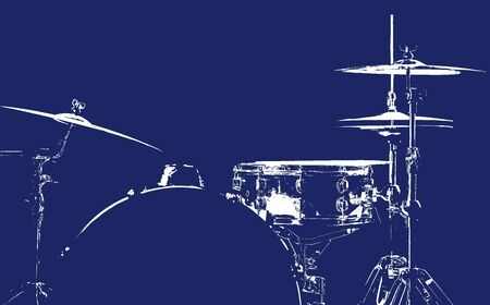 Drum set. White silhouette of the drums. Beautiful blue background. Musical instrument. The concept of music.