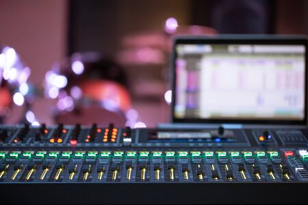 Digital mixer in a recording Studio , with a computer for recording music. The concept of creativity and show business. Space for text. Banque d'images