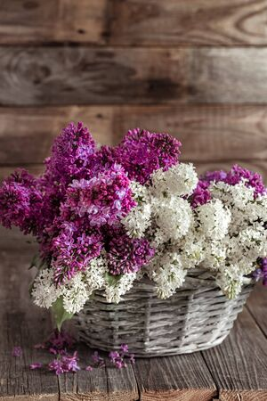 Spring composition with lilac flowers in a wicker basket. Mothers and womens day. Space for text. Horizontal orientation. Gift baskets and flower deliveries