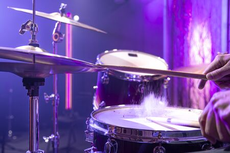 Drum kit, drums in the Studio on a beautiful background. Close up.