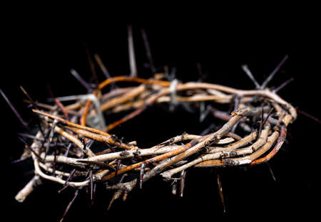 The crown of thorns lies on an isolated black background. The concept of Holy week, associated with suffering and love. Close up.