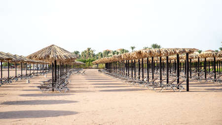 Empty beach during a Pandemic, the localization of the coronavirus. Tourist crisis.
