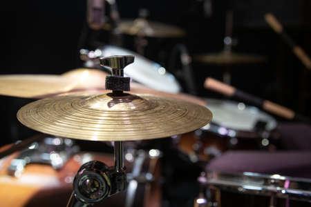 Cropped image of drum set. Drum kit with crash, ride, splash cymbal.