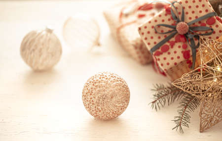 Festive background with decor elements and gift boxes on a white background copy space. 版權商用圖片