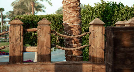 Large wooden handrails in a tropical setting.