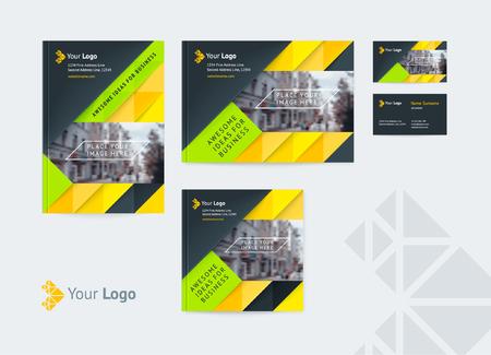 Ensemble de modèle de conception d'identité d'entreprise couvre différentes tailles et une carte de visite avec un logo et un lieu pour une photo. Illustration vectorielle de formes dynamiques, flèches et diagonales.
