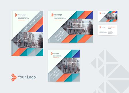 El conjunto de plantillas de diseño de identidad corporativa abarca varios tamaños y una tarjeta de presentación con un logotipo y un lugar para una foto. Ilustración vectorial de formas dinámicas, flechas y diagonales.