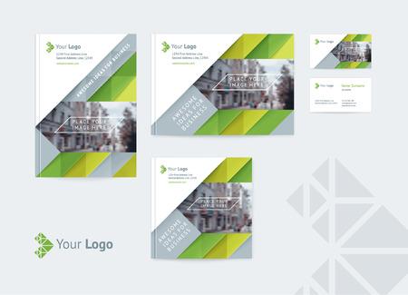 Conjunto de plantilla de diseño de identidad corporativa cubre varios tamaños y una tarjeta de visita con un logotipo y un lugar para una foto. Ilustración de vector de formas dinámicas, flechas y diagonales.